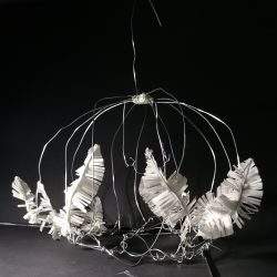 Anita-Forde-Eg-14-Wire-Cage-Sculpture-with-Feathers-Wire-and-Masking-Tape