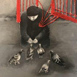 Catalina-Vesca-1.-Homeless-Person-Feeding-Pigeons.-Acrylic