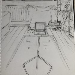 Helen-Ryan-11-Yoga-Mat-And-Laptop-In-Room---Pencil-And-Gel-Pen