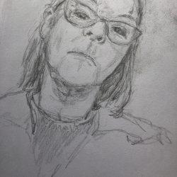 Helen-Ryan-2-Self-Portrait-In-Mirror---Pencil