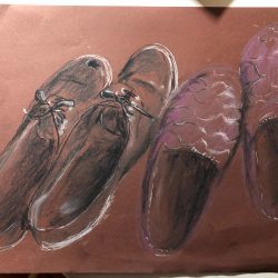 Helen-Ryan-9-Son_S-Shoes-In-Hall---Coloured-Charcoal-Pencil-On-Coloured--Paper