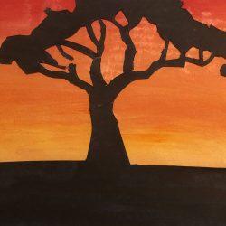 Lee-Barrrett-Woods-11,Sunset_Tree,Watercolour
