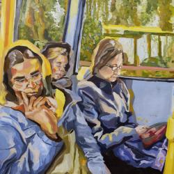 Magdalena Mroczek 'People sleeping on the bus' Oil Paint