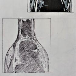 Nodee-Mekhola-17.-_Reflections-On-A-Bottle_.-Ink-And-Biro