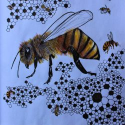 Nodee-Mekhola-7.-_Bees-In-The-Hive_.-Ink-And-Coloured-Pencils_